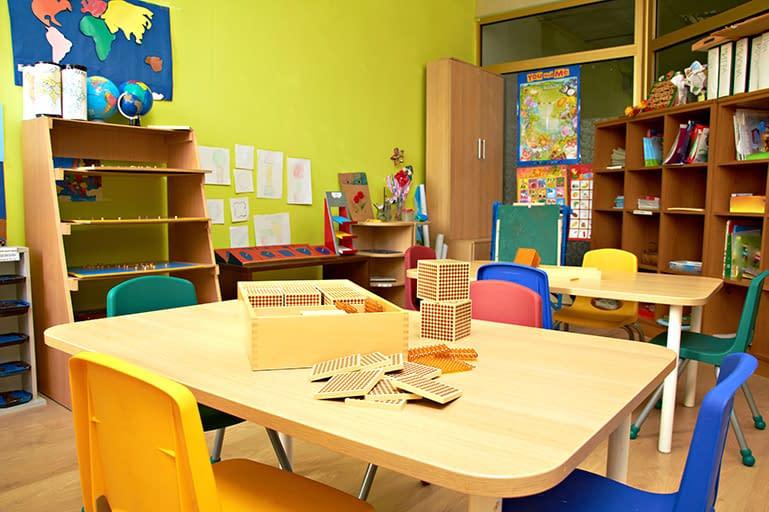 A traditional montessori classroom with montessori materials