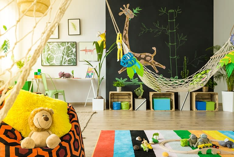 Fun and colorful jungle themed homeschool rooms