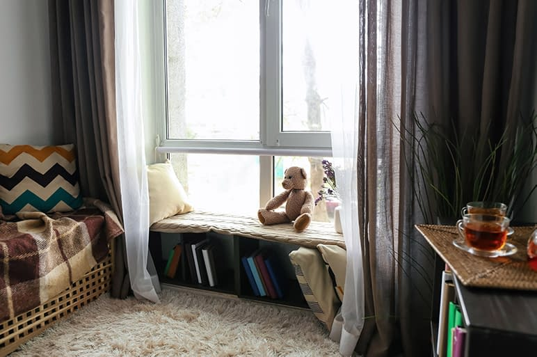 A reading nook in a homeschool room