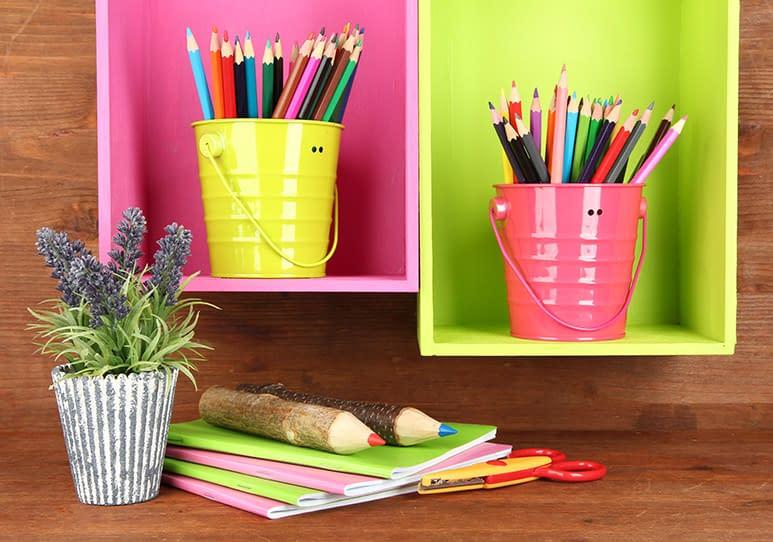 Colored pencils in buckets, a great organization idea for homeschol decore