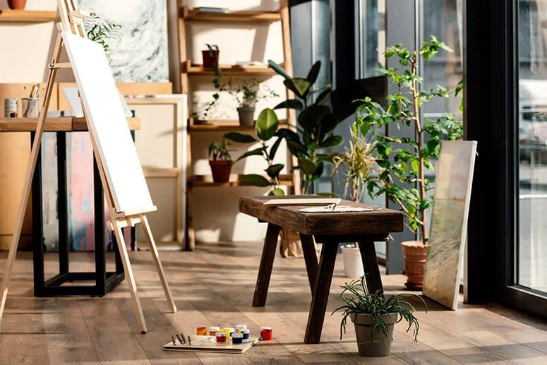 A bright art corner in a classroom, homeschool room or home.