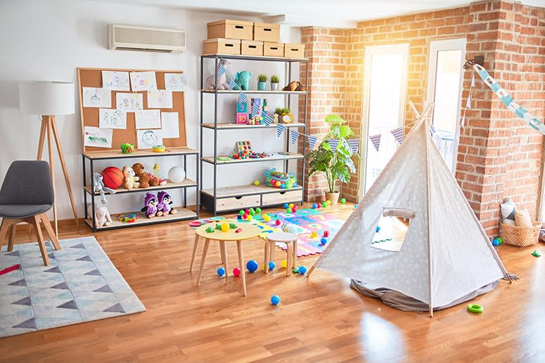 A sunny room for homeschooling or a playroom.